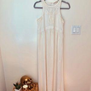 Boho beaded maxi white dress